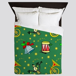 Christmas, Horns, Drums, Bells Queen Duvet