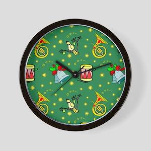 Christmas, Horns, Drums, Bells Wall Clock