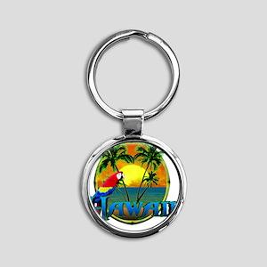 Hawaiian Sunset Round Keychain