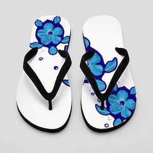 Blue Hibiscus Honu Turtles Flip Flops