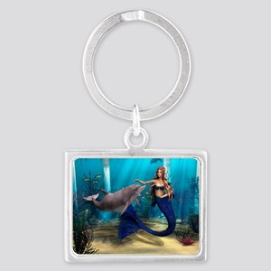 Mermaid and Dolphin Landscape Keychain