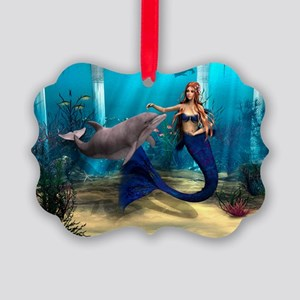 Mermaid and Dolphin Picture Ornament