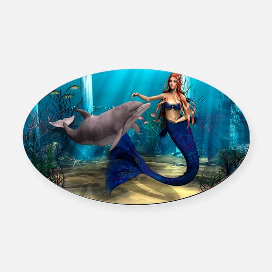 Mermaid and Dolphin Oval Car Magnet