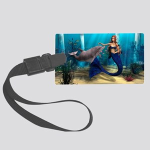 Mermaid and Dolphin Large Luggage Tag
