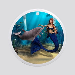 Mermaid and Dolphin Round Ornament