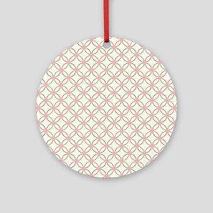 Brown Circles  Pink Dots 2 Round Ornament
