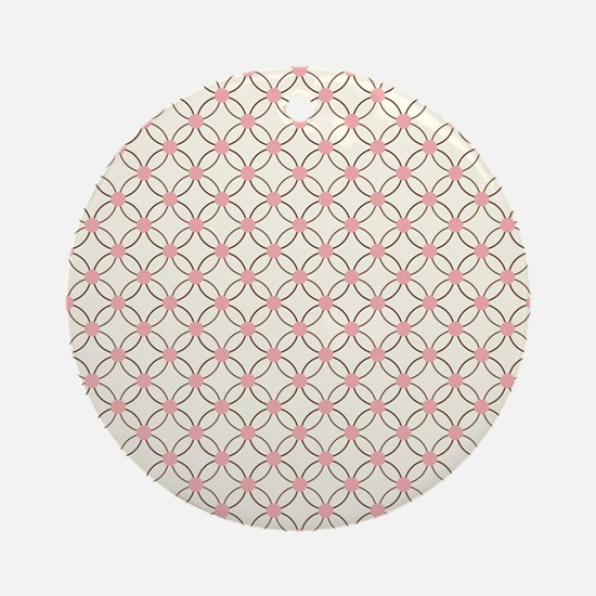 Brown Circles  Pink Dots 2 Round Ornament