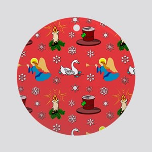 Blue Angels, White Swans  Top Hats Round Ornament