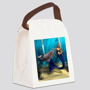 Mermaid and Dolphin Canvas Lunch Bag