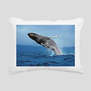Humpback Whale Leap Rectangular Canvas Pillow