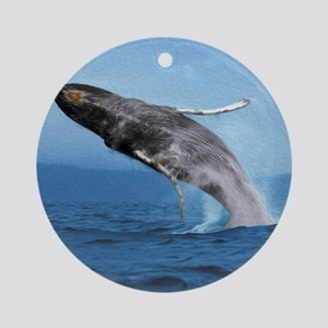 Humpback Whale Leap Round Ornament
