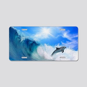 Dolphin Surf Aluminum License Plate