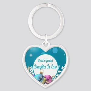 Worlds Greatest Daughter In Law Heart Keychain