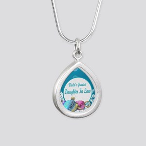 Worlds Greatest Daughter Silver Teardrop Necklace