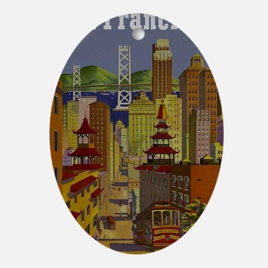 Vintage San Francisco Travel Oval Ornament