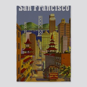 Vintage San Francisco Travel 5'x7'Area Rug