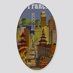 Vintage San Francisco Travel Sticker (Oval)