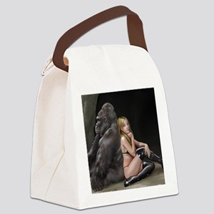 Girl and Gorilla for picture Canvas Lunch Bag
