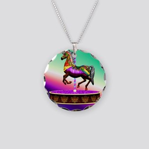 Carousel Horse  Necklace Circle Charm