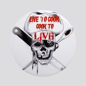 Cook to Live Round Ornament