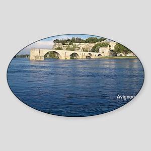 Avignon and Pont Saint-Bénezet  Sticker (Oval)