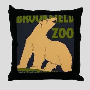 Brookfield Zoo Vintage Poster Polar B Throw Pillow