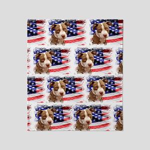 American pitbull puppy Throw Blanket