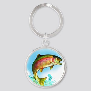 Jumping Rainbow Trout Round Keychain