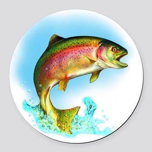 Jumping Rainbow Trout Round Car Magnet