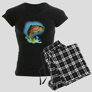 Jumping Rainbow Trout Women's Dark Pajamas