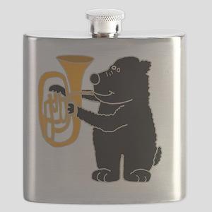 Black Bear Playing Tuba Flask
