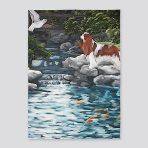 At the Koi Pond 5'x7'Area Rug