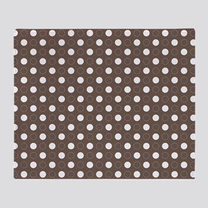 brown with white dots and green bord Throw Blanket