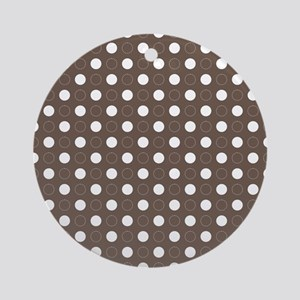 brown with white dots and green bor Round Ornament