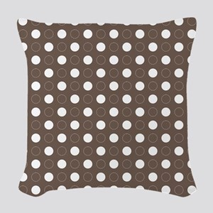 brown with white dots and gree Woven Throw Pillow