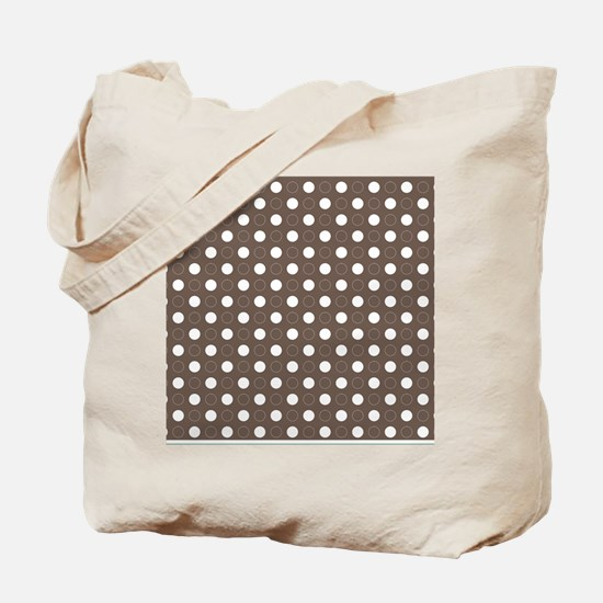 brown with white dots and green border Tote Bag