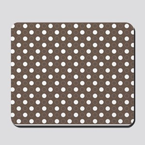 brown with white dots and green border Mousepad