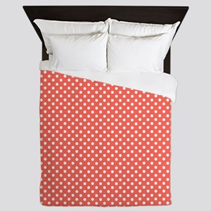coral with little white dots Queen Duvet