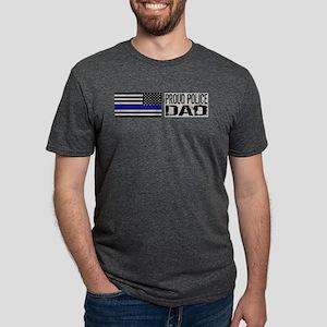 Police: Proud Dad (Black Flag Blue Line) T-Shirt