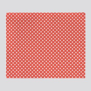 coral with little white dots 2 Throw Blanket