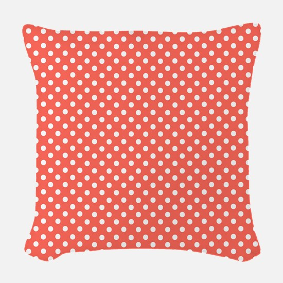 coral with little white dots 2 Woven Throw Pillow