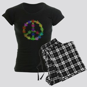 Rainbow Peace Marijuana Leaf Women's Dark Pajamas