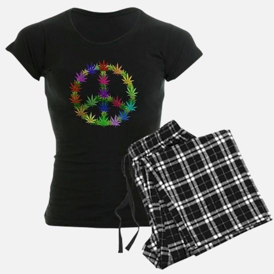 Rainbow Peace Marijuana Leaf Pajamas