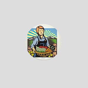 Organic Farmer Farm Produce Harvest Re Mini Button
