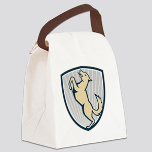 Prancing Dog Side Shield Canvas Lunch Bag
