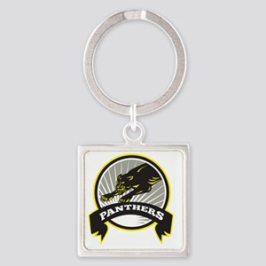 Panther Big Cat Growling Square Keychain