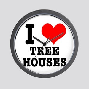 I Heart (Love) Treehouses Wall Clock
