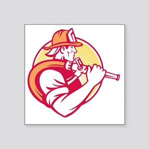 """Fireman Firefighter Emergen Square Sticker 3"""" x 3"""""""