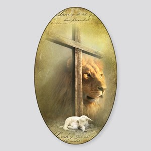 The Lion and the Lamb Sticker (Oval)