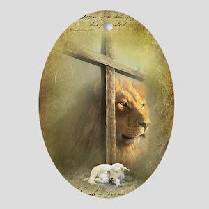 Lion of Judah, Lamb of God Oval Ornament